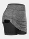 Women Sports Shorts Compression Liner Breathable Tennis Skirt With Pocket - Grey