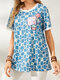 Icon Plaid Print O-neck Short Sleeve Casual T-Shirt for Women - Blue