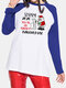 Christmas Printed Long Sleeve O-neck Patchwork T-shirt For Women - Blue