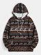 Mens Ethnic Pattern Print Daily Pullover Hoodie With Kangaroo Pocket - Brown