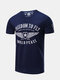 Mens American Style Printed O-neck Short Sleeve Cozy Casual Summer T Shirts - Navy