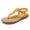 LOSTISY Women Clip Toe Rhinestone Comfy Elastic Beach Flat Sandals - Yellow