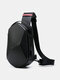 Nylon Multi-Layers USB Charging Safety Reflective Strip Large Capacity Waterproof Scratch-resistant Chest Bag - Black