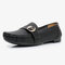 Women Metal Soft Sole Moccasins Stitching Solid Color Loafers - Black