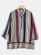 Striped Print Stand Collar Casual Plus Size Shirt for Women - Blue