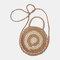 Women Travel Summer Beach Straw Handbag Shoulder Bag - Brown