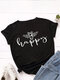 Bee Letters Loose O-neck Short Sleeve T-Shirt For Women - Black