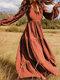 Solid Color V-neck Plus Size Dress for Women - Orange