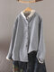 Vintage Striepd Print Long Sleeves Stand Collar Casual Button Blouse For Women - Navy