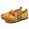 SOCOFY Vintage Handmade Soft Leather Floral Hook Loop Strap Slip on Flat Shoes - Yellow