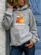 Cartoon Cat Letter Print Long Sleeve Casual Hoodie For Women - Gray