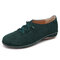 LOSTISY Casual Suede Elastic Band Flat Shoes for Women - Green