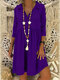 Solid Color 3/4 Sleeve Lapel Casual Dress For Women - Purple