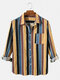 Mens Cotton Colorful Striped Print Daily Fit Long Sleeve Shirts With Pocket - Blue