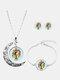 3 Pcs Printed Men Women Jewelry Set Wearing Garland Hollow Half Moon Necklace Bracelet Earring - #03