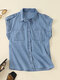Solid Lapel Sleeveless Pocket Button Women Denim Blouse - Sky Blue