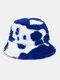 Women & Men Wool Soft Warm Casual All-match Cute Cow Pattern Bucket Hat - Blue