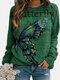 Butterflies Print O-neck Long Sleeve Plus Size Casual T-shirt - Green
