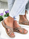 Women Large Size Comfy Flat Clip Toe Outdoor Sandals - Dark Gray