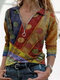 Ethnic Printed Long Sleeve V-neck Zip Front Blouse For Women - Yellow