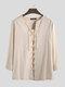 Mens 100% Cotton Pure Color Loose Lace Up Long Sleeve T-Shirts - Khaki