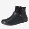 Large Size Women Retro Comfy PU Leather Zipper Flat Short Boots - Black