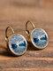 Vintage Glass Dangle Women Earrings Plant Flower Pattern Earrings Jewelry - #12