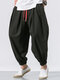 Mens Solid Color Baggy Loose Drawstring Casual Cotton Harem Pants - Black