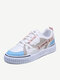 Womens Fashion Color Block Skate Shoes Comfy Lace-up Casual Sneakers - Blue Pink