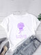 Casual Print O-neck Short Sleeve Plus Size Cotton T-shirt for Women - White