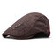 Men's Comfortable Cap Spring And Summer Embroidery Cotton Adjustable Fashion Beret Cap - Coffee