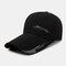 Men Sunscreen Outdoor Fishing Travel Casual Broad Brim Visor Sun Hat Baseball Hat - Black