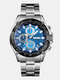 Stainless Steel Business Watch Waterproof Chronograph Men Quartz Watches - Silver Case Blue Dial
