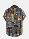 Mens Cotton Ethnic Printed Funny Short Sleeve Loose Casual Shirt - Blue