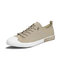 Men Breathable Comfy Wearable Lace Up Daily Camvas Sneakers - Khaki