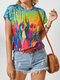 Drawing Landscape Prints Short Sleeve O-neck T-Shirt For Women - Yellow