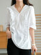 Solid Color Ruffle V-neck Half Sleeve Lace Patchwork Women Blouse - White