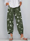 Floral Printed Elastic Waist Casual Loose Pants For Women - Green
