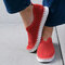 Women Solid Color Hollow Brathable Non Slip Casual Shoes - Red