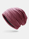 Women & Men Striped Warm Outdoor Solid Color Casual Personality Brimless Beanie Hat - Wine Red