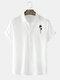 Mens Rose Hand Chest Print Plain Casual Short Sleeve Shirts - White