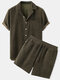 Mens Thin Corduroy Solid Patch Pocket Breathable Short Sleeve Shirt & Shorts - Green