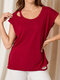 Solid Color O-neck Short Sleeve Ripped Women Casual T-Shirt - Wine Red