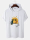 Mens Smile Face & Cactus Print Preppy Short Sleeve Hooded T-Shirts - White