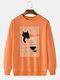 Мужские свитшоты с заниженными плечами, Кот, 100% хлопок, с рисунком в полоску, Шея - апельсин
