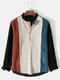 Mens Corduroy Texture Colorblock Stitching Long Sleeve Henley Shirt - Apricot