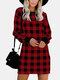 Plaid Print O-neck Long Sleeve Plus Size Casual Dress For Women - Red
