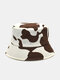 Women Cotton Color Contrast Cow Pattern Printing Fashion All-match Sunscreen Bucket Hat - Coffee