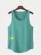 Mens Solid Color Character Print Breathable Loose Sleeveless Tank Top - Green