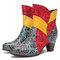 SOCOFY Genuine Leather Colorblock Splicing Floral Embossed Round Toe Short Boots - Blue